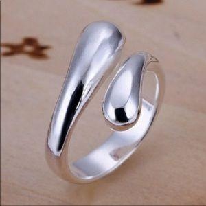 🥂Silver Water 💦 Drop Ring Adj Size 🥂